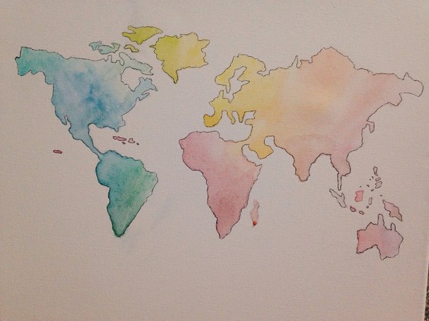 Earth map drawing at getdrawings free for personal use earth 610x457 art atlas canvas colorful creative gumiabroncs Gallery