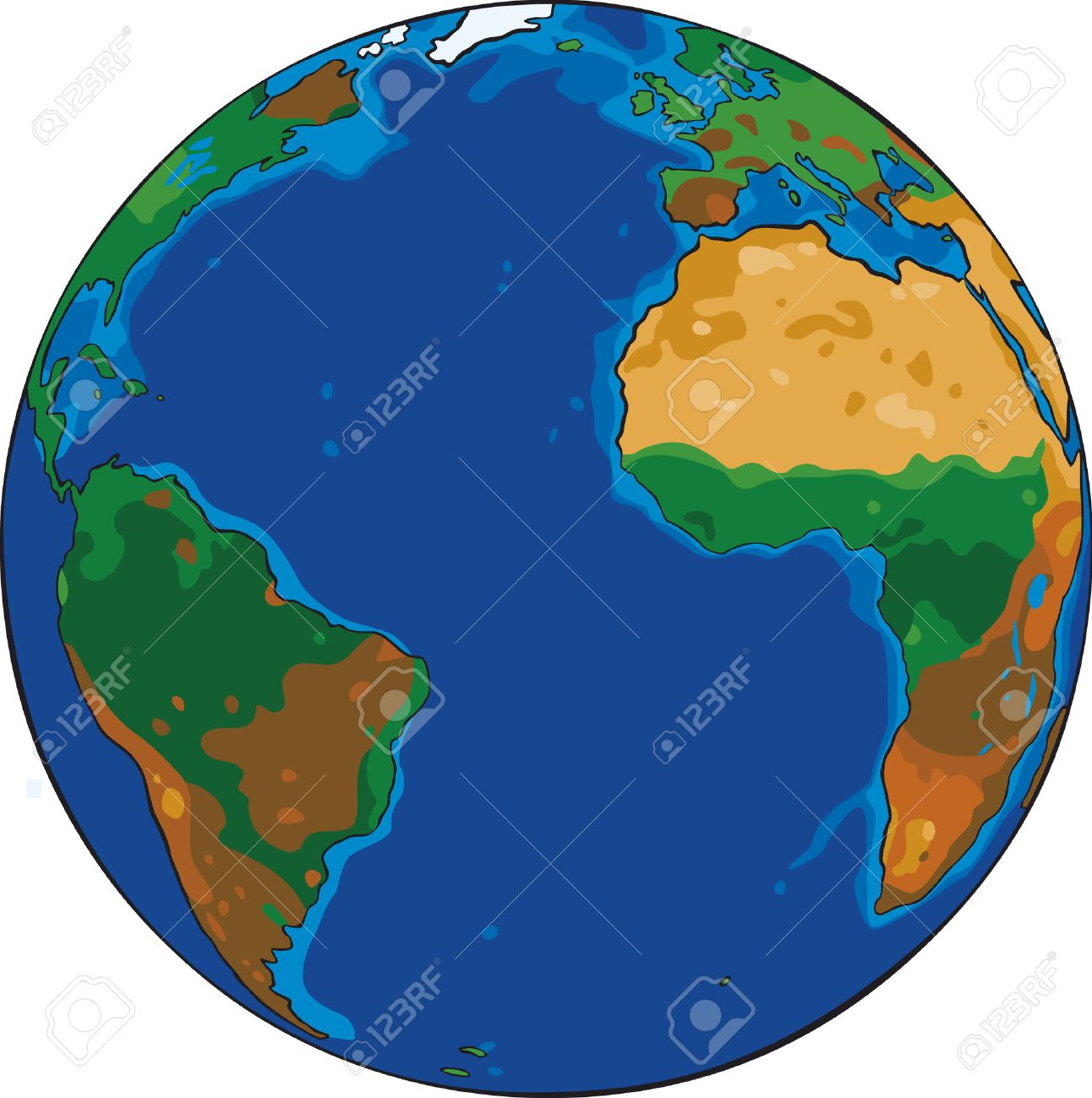 1294x1300 Cartoon Vector Drawing Of The Planet Earth Royalty Free Cliparts