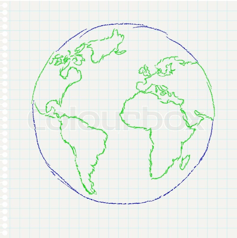 797x800 Child's Drawing Of The Planet Earth On A Notepad Leaf, Vector