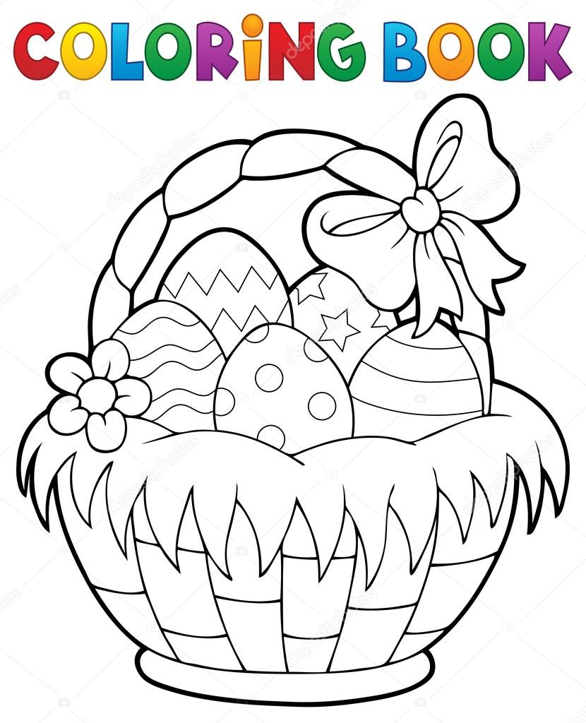 830x1024 Coloring Book Easter Basket Theme 1 Stock Vector Clairev