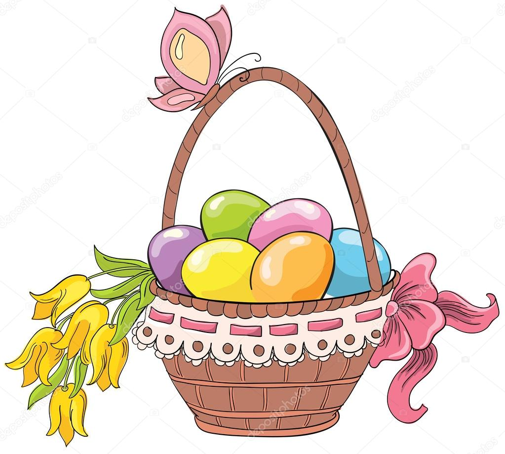 1023x919 Easter Basket With Eggs And Bouquet Of Flowers. Vector Hand