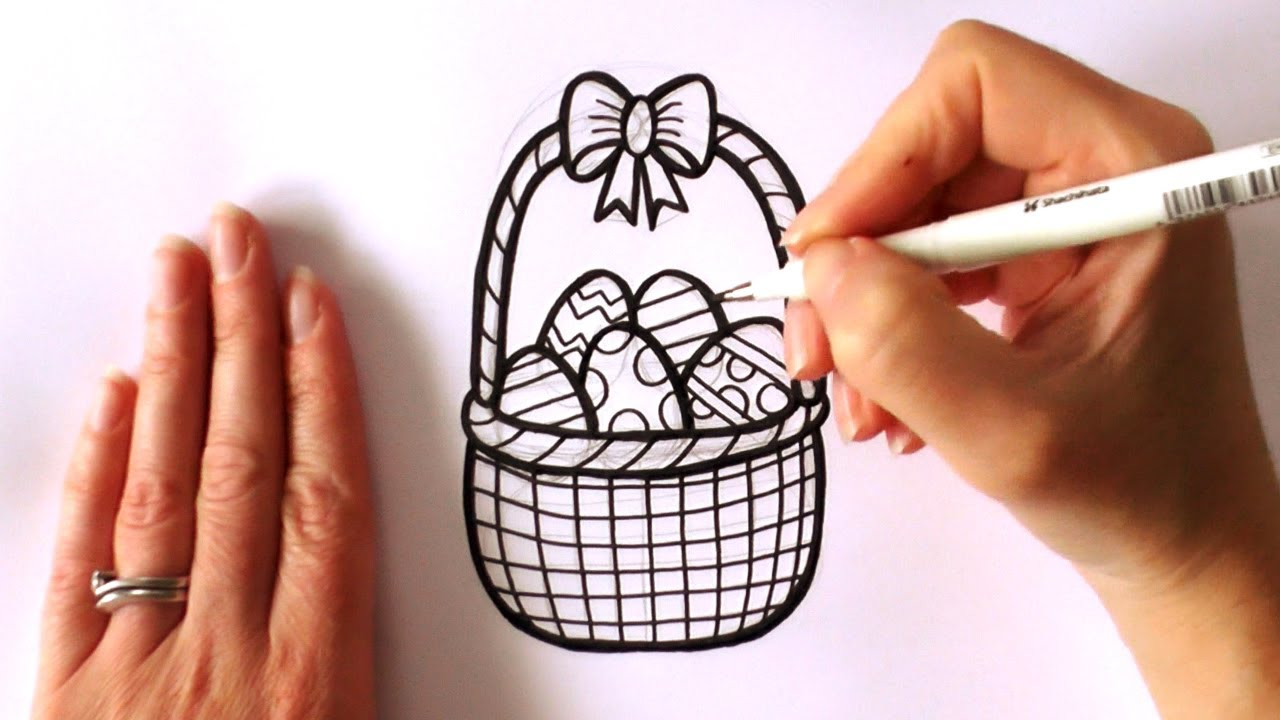 1280x720 How To Draw A Cartoon Easter Basket Filled With Easter Eggs