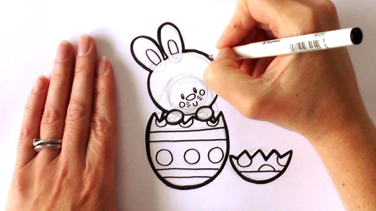1280x720 How To Draw A Cartoon Easter Bunny Popping Out Of An Easter Egg