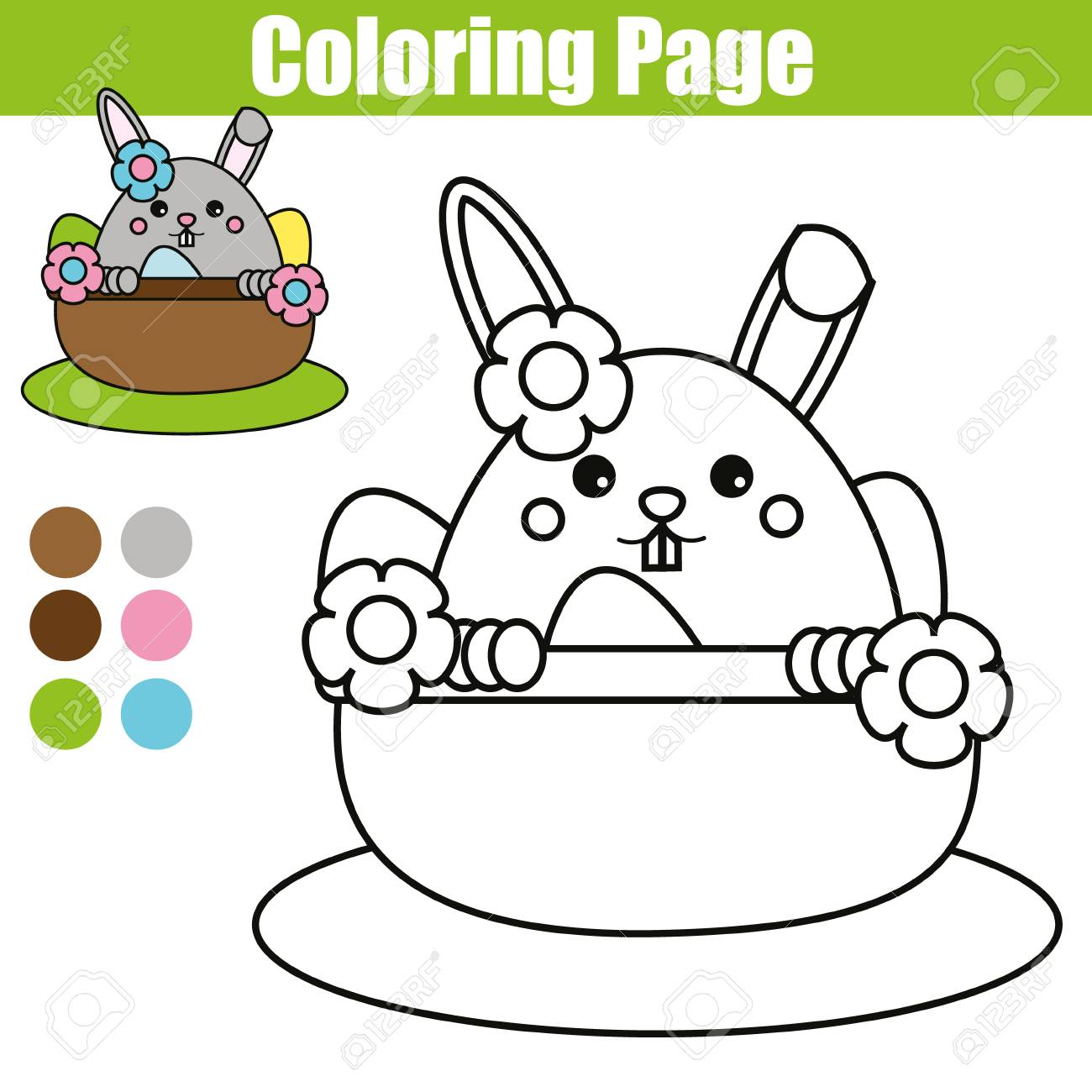1300x1300 Coloring Page With Easter Bunny Character. Printable Worksheet