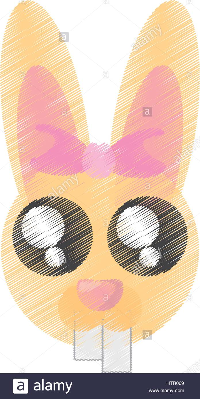 696x1390 Drawing Cute Face Bunny Easter Stock Vector Art Amp Illustration
