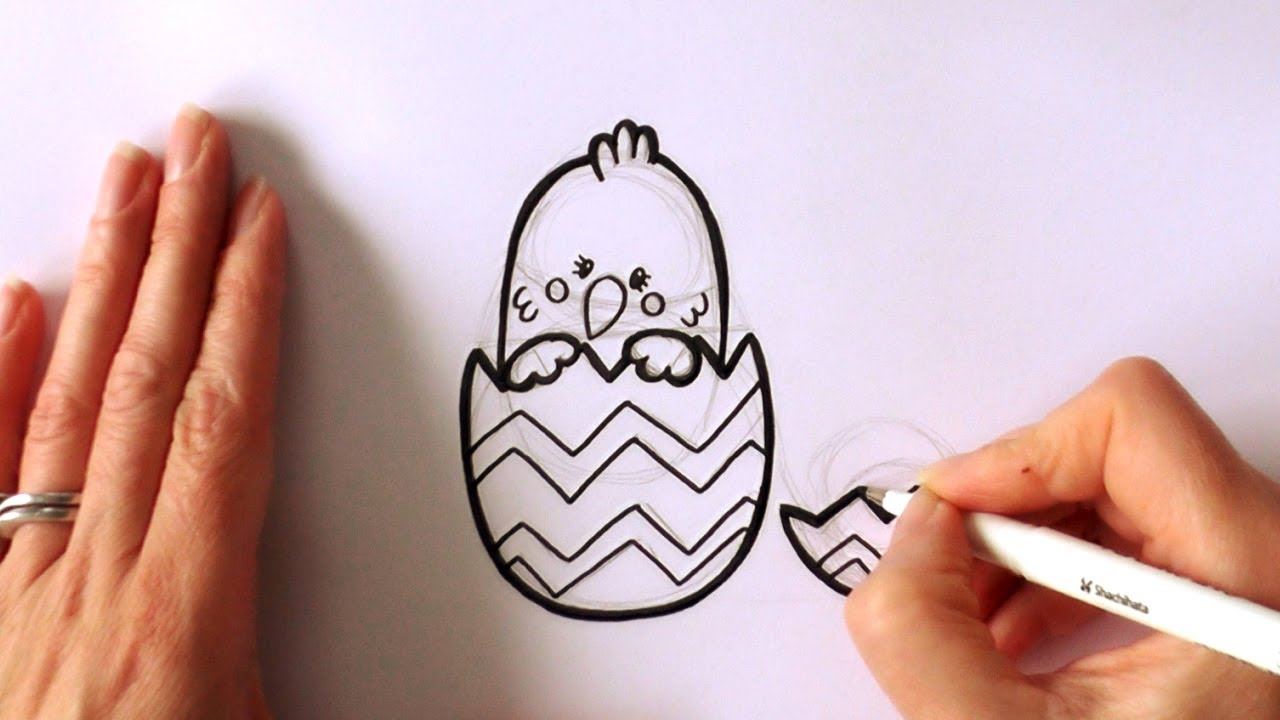 1280x720 How To Draw A Cartoon Easter Chick Popping Out Of An Easter Egg
