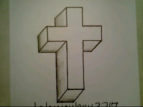 480x360 How To Draw A 3d Cross Crucifix Easy Optical Illusion Step By Step