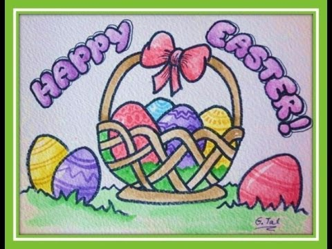 480x360 How To Draw Easter Stuff Eggs In Basket Easy Step By Step