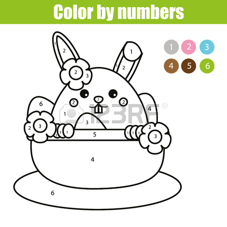 450x450 Coloring Page With Easter Bunny Character. Color By Numbers Math