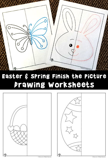 462x682 Easter And Spring Finish The Picture Drawing Worksheets