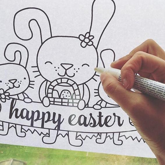 567x567 Easter Bunny Window Drawing