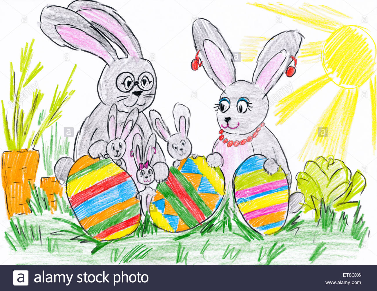 1300x1003 Rabbit Family On Meadow With Easter Eggs. Child Drawing Stock