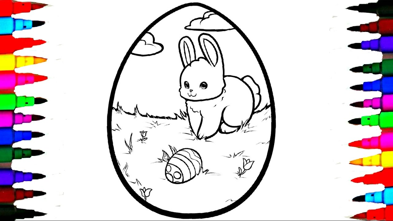 1280x720 Coloring GIANT Easter Egg Coloring Page Videos For Children