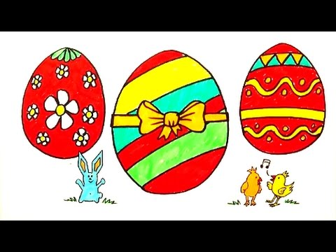 480x360 Drawing And Coloring Easter Eggs Bunny And Chicks