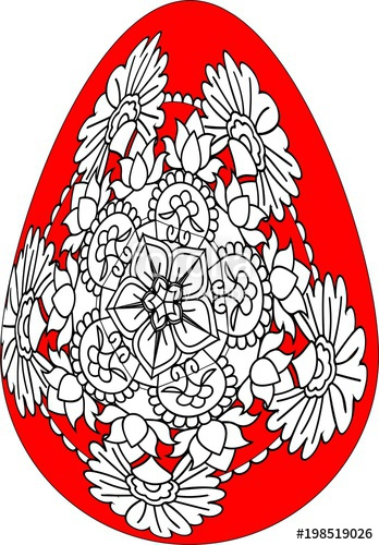 348x500 Red Easter Egg With Drawing Colours Mandala Easter Egg With Floral