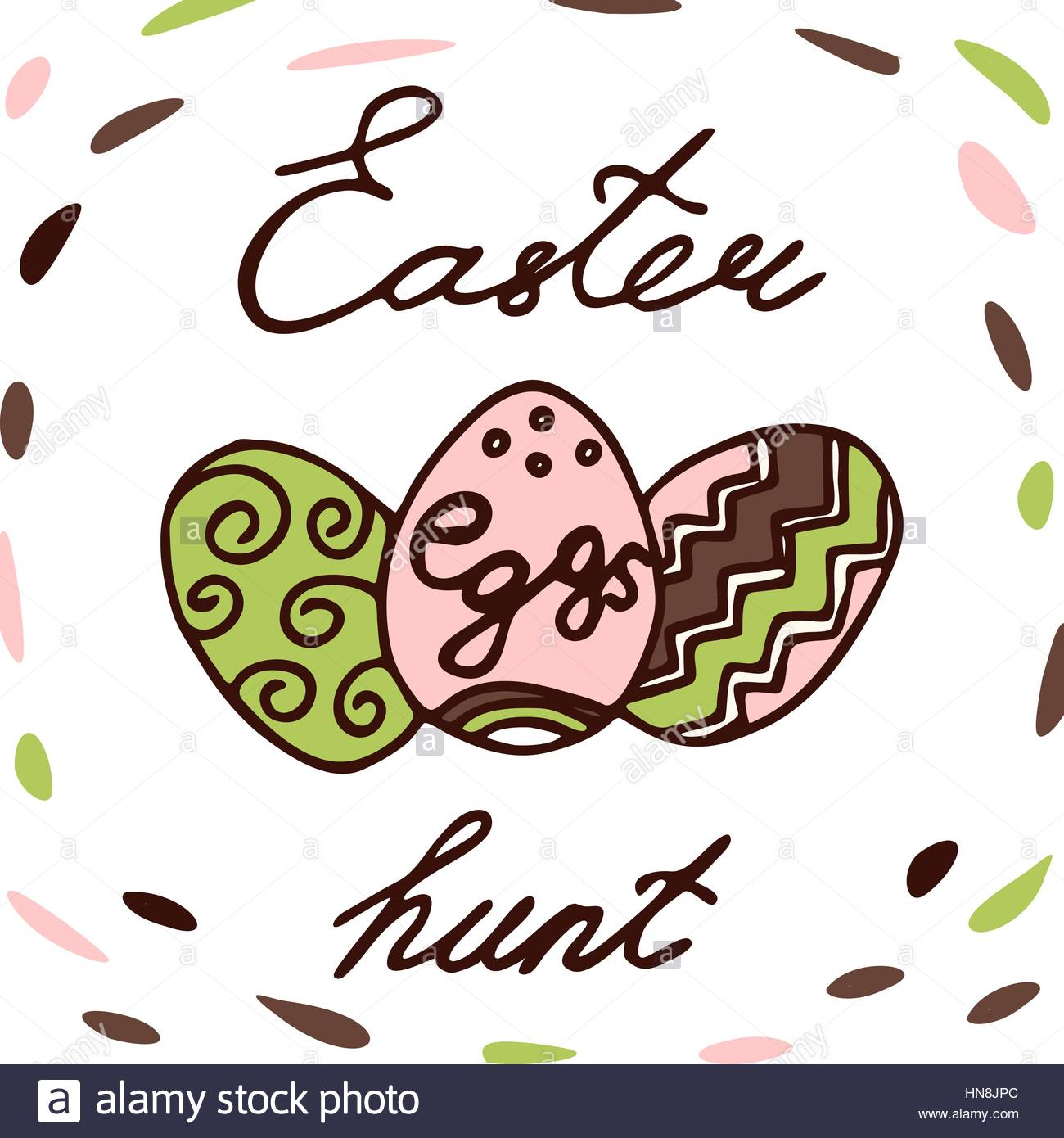 1300x1390 Easter Egg Hunt. Easter Lettering Label Design. Retro Holiday