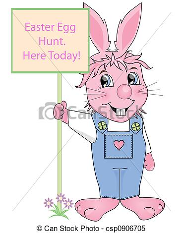 369x470 Easter Egg Hunt Sign,held By The Easter Bunny. Stock Illustrations