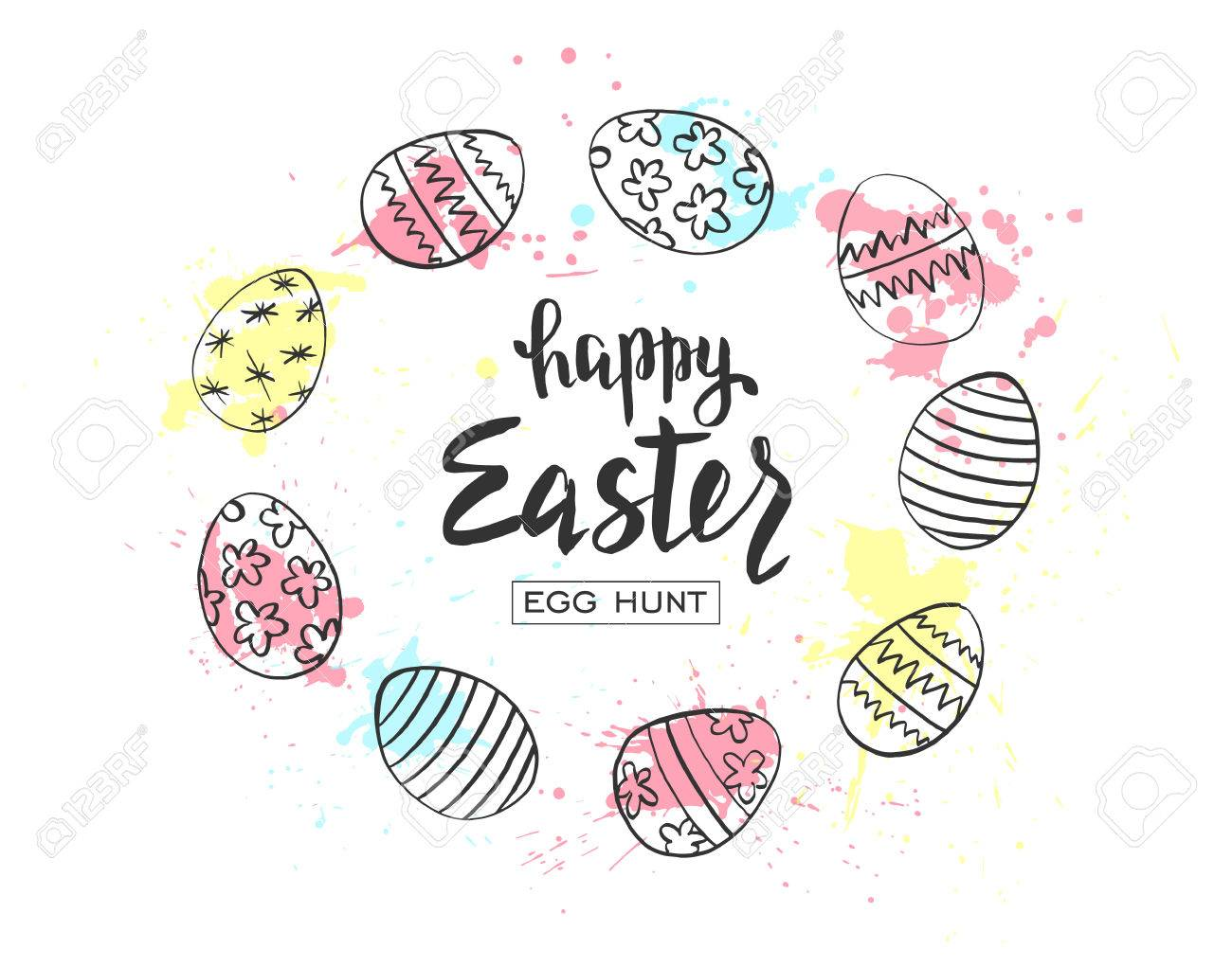 1300x1021 Happy Easter Egg Hunt Vector Illustration. Holiday Banner Design