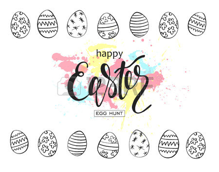 450x354 Happy Easter Vector Illustration. Holiday Banner Design