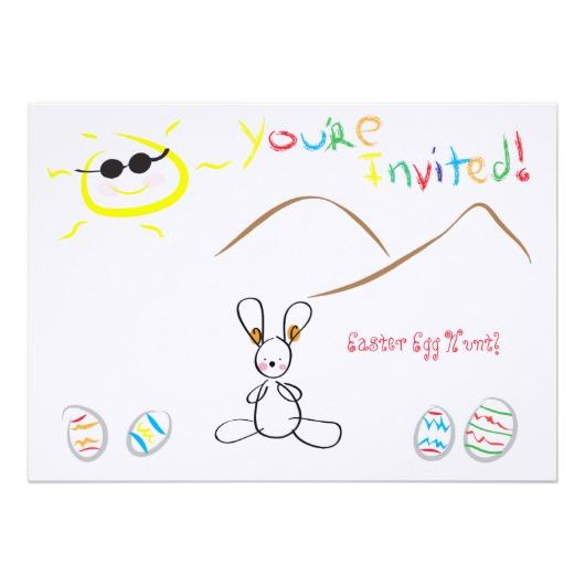 530x530 Kids Drawing Easter Egg Hunt Paper Invitation Card