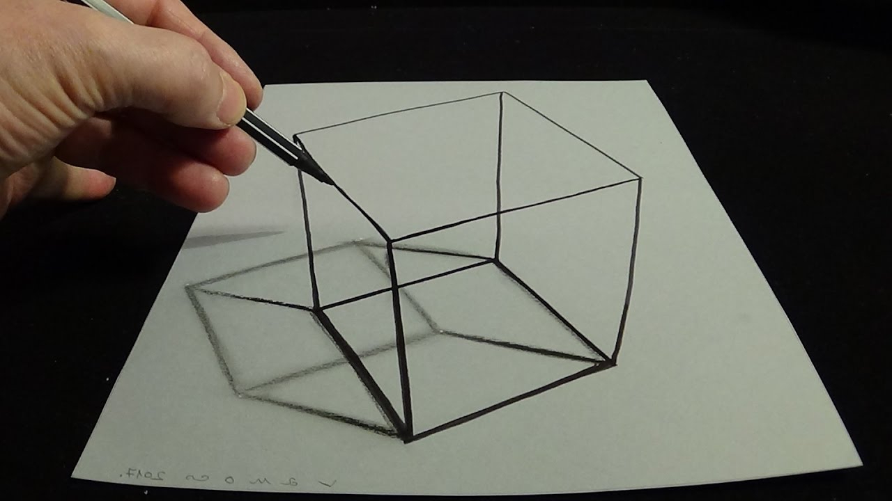 1280x720 How To Draw Easy 3d Drawings 3d Drawing A Simple Cube