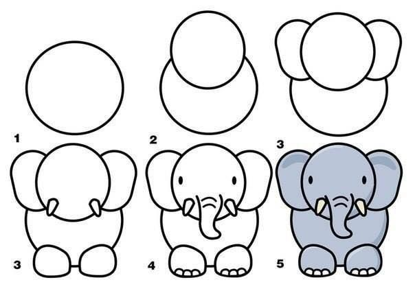 604x424 simple instructions for drawing an elephant zoo animals