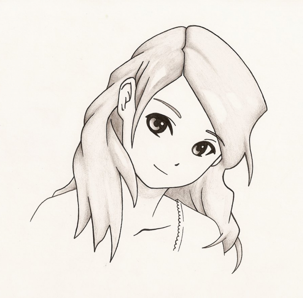 1024x1009 Drawing Easy Anime Girl By Pencil Easy Anime Girl To Draw Easy