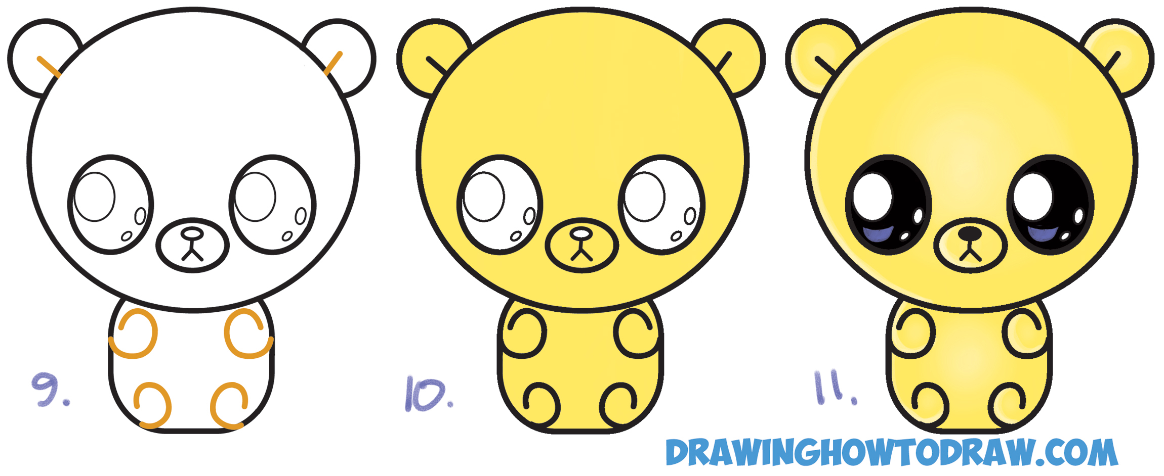 2300x942 Drawing Of A Gummy Bear How To Draw A Cute Chibi Kawaii