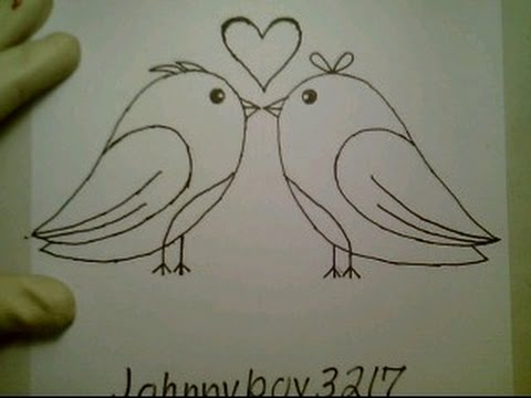 480x360 How To Draw A Valentine Heart Love Birds Pictures Drawing Kissing