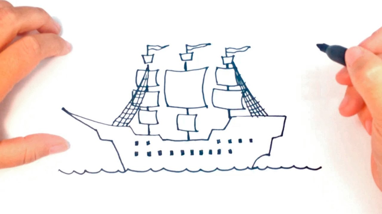 1280x720 Wanted Easy Boats To Draw How A Pirate Ship Step By