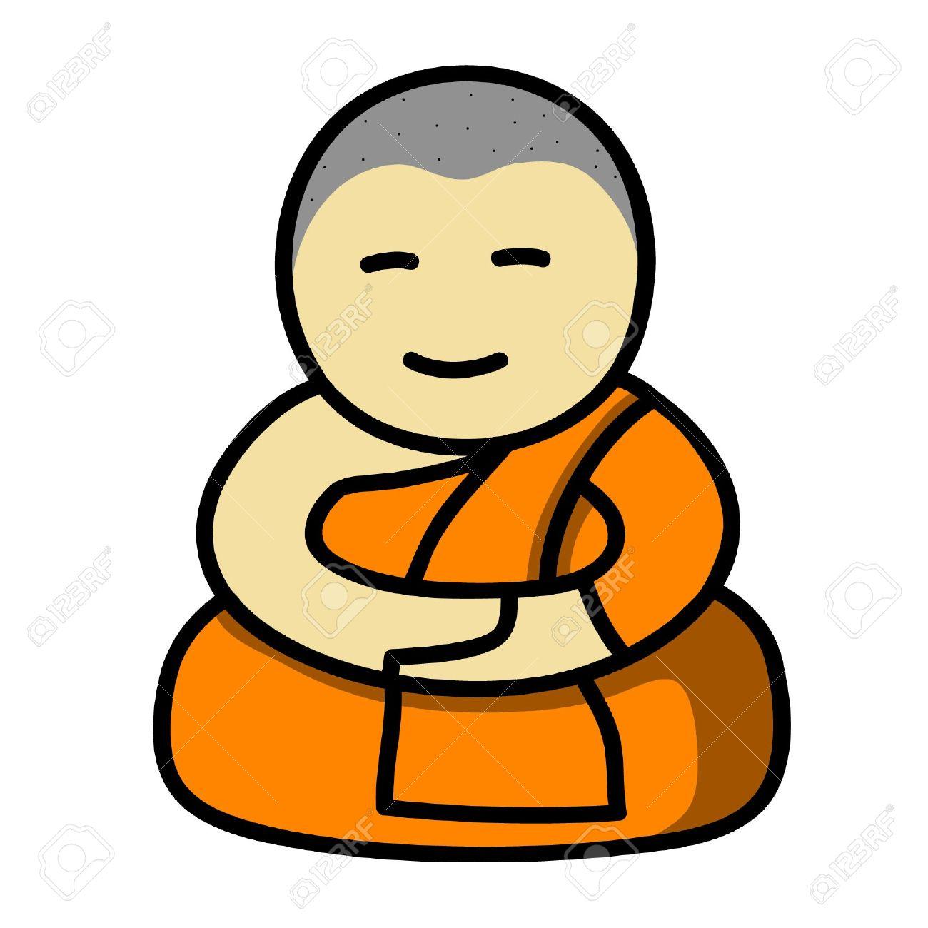 1300x1300 Buddha Cartoon Drawing Buddhist Monk Cartoon Vector Royalty Free