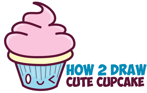 500x316 How To Draw A Cute Cupcake How To Draw Cute Kawaii Cupcake
