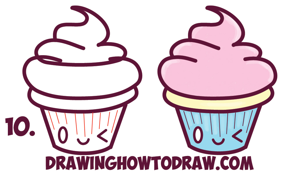 969x606 How Draw Cute Kawaii Cupcake With Face On It Easy Step How