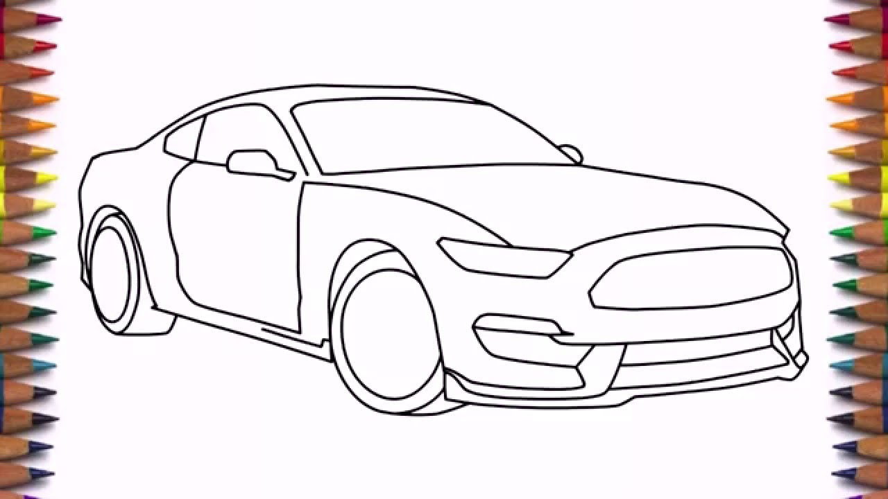 1280x720 How To Draw A Car Ford Mustang Shelby GT350 2016 Step By Easy