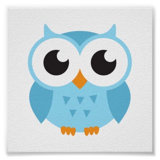 512x512 Cute Blue Cartoon Baby Owl Poster Cartoon Owls, Baby Owl And Owl