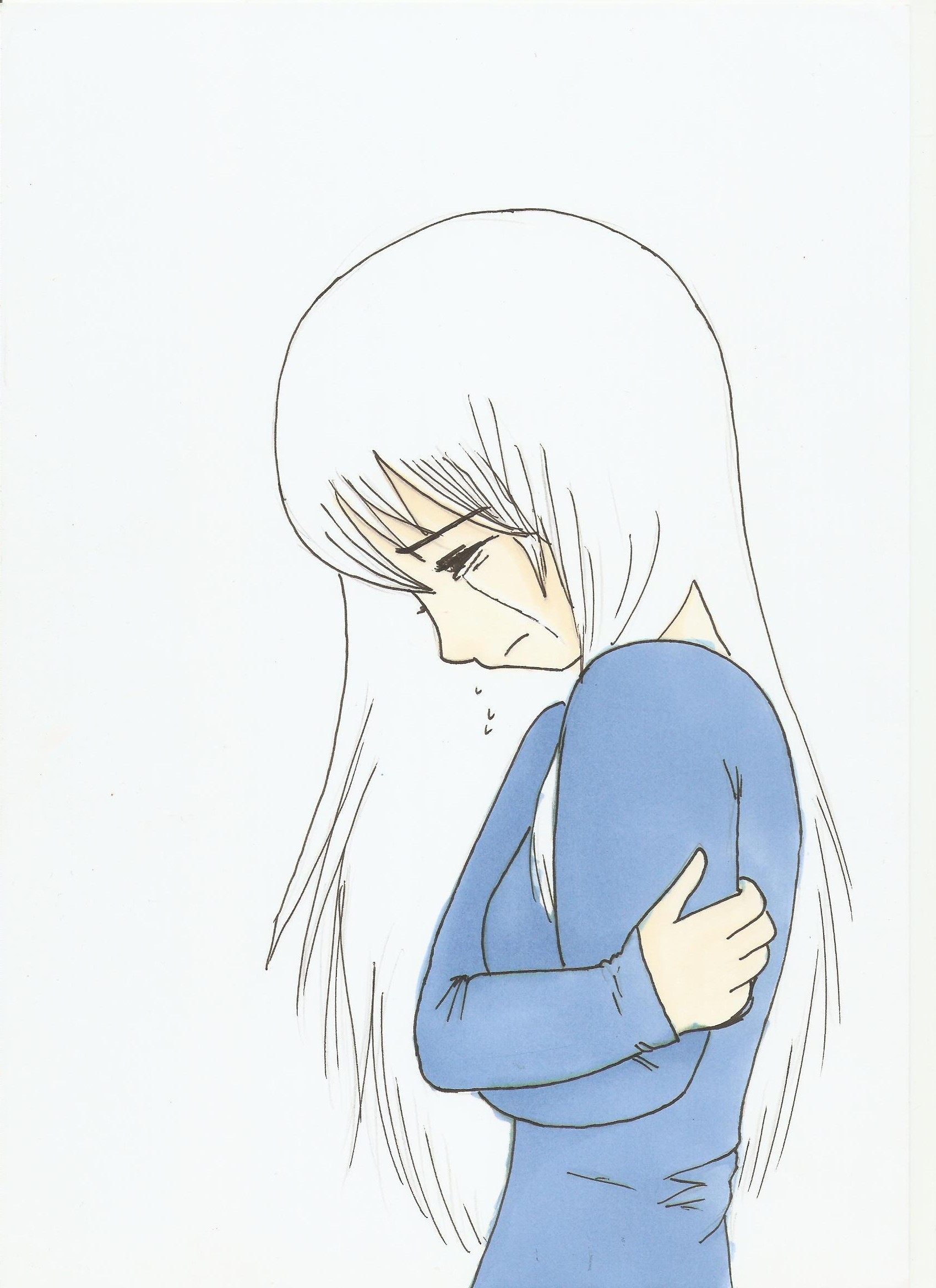 1700x2338 Girl Crying Drawing Easy Anime Girl Crying Crossing Drawing
