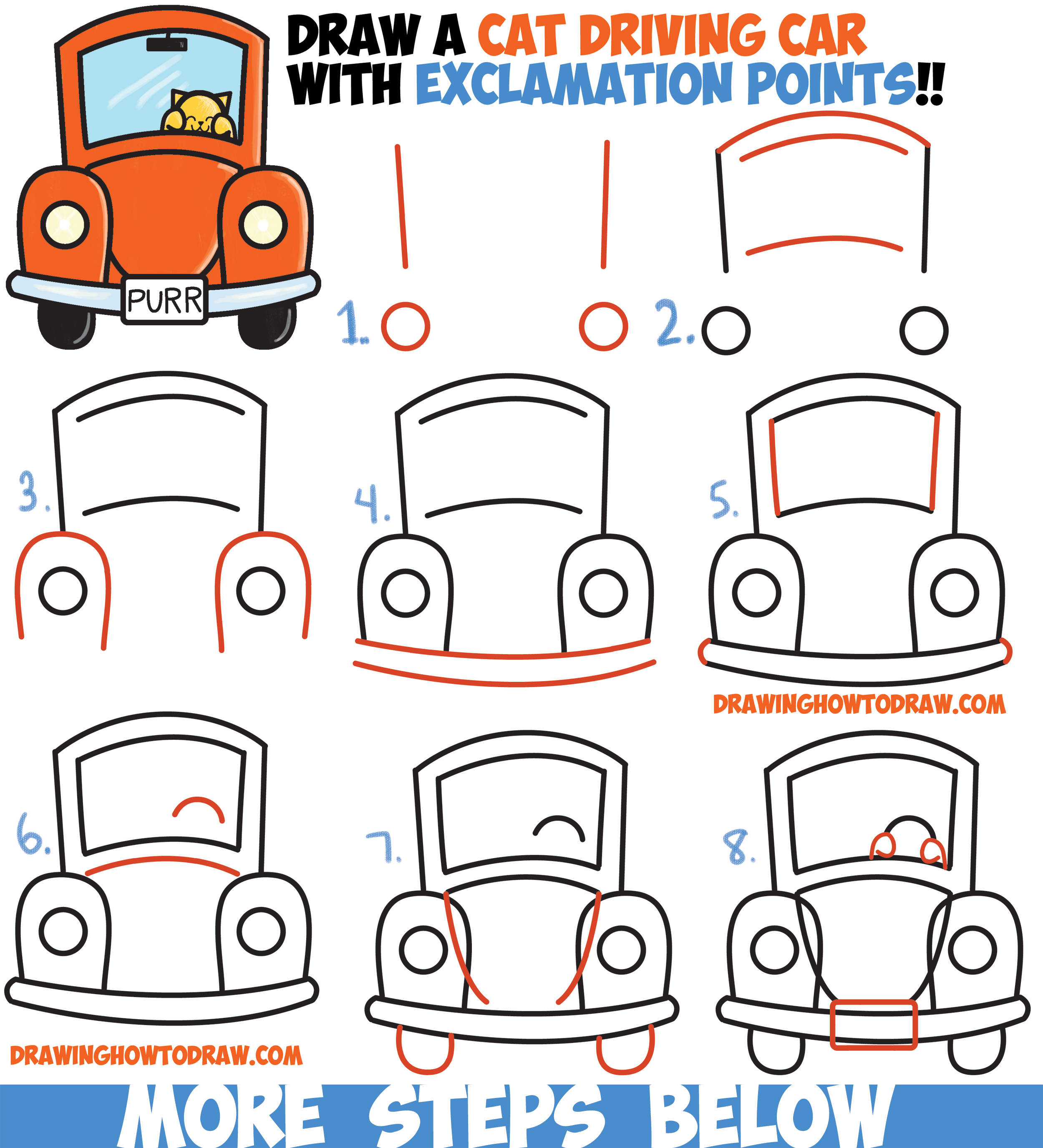 2500x2753 How To Draw Cute Cartoon Cat Driving A Car From Exclamation Points