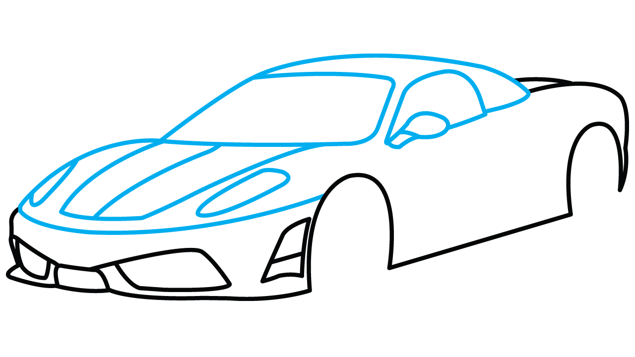 1280x720 How To Draw Ferrari 360, A Sports Car, Easy Step By Step Drawing