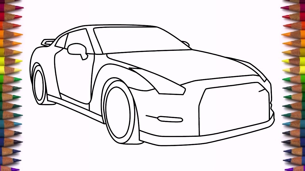 1280x720 How To Draw Nissan Gtr Step By Step Drawing A Car