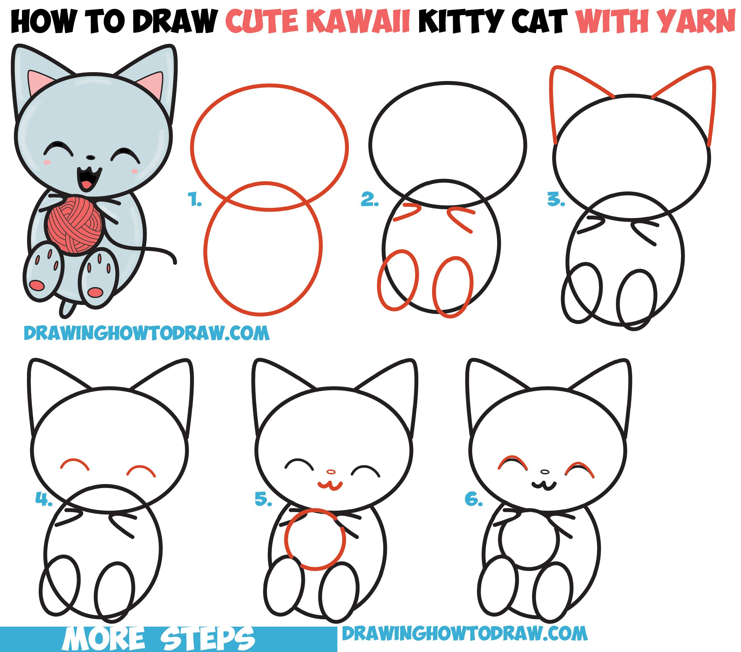 2394x2108 How To Draw Cute Kawaii Kitten Cat Playing With Yarn From Number