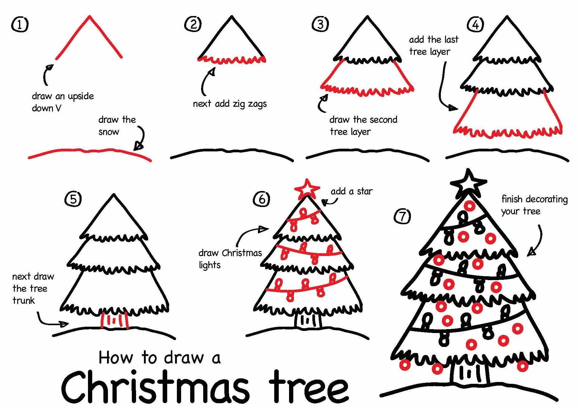 1915x1360 How To Draw A Christmas Tree Step By Easy For Kids Simple