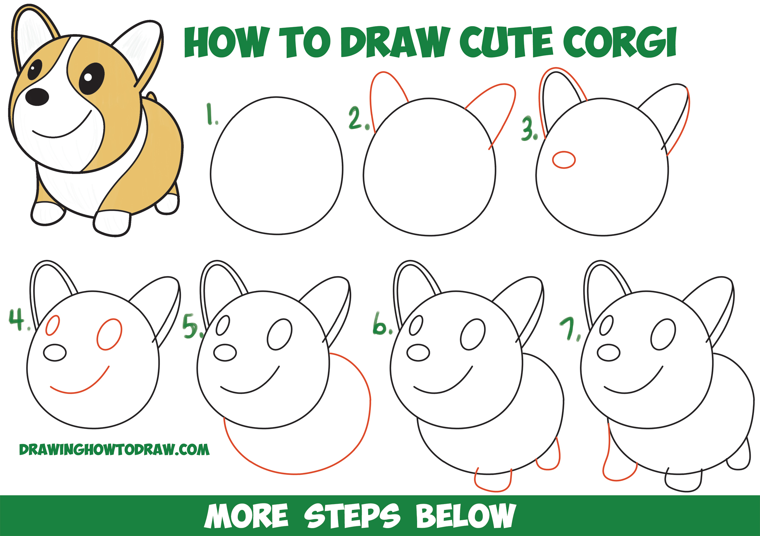2500x1763 Dog Step By Step Drawing How To Draw A Cute Corgi (Cartoon