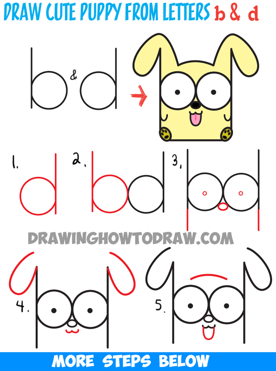 900x1209 How To Draw Cartoon Baby Dog Or Puppy From Letters Easy Step By