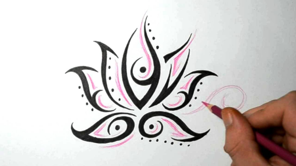 1024x576 Easy Flower Drawing Ideas Lotus Flower Tattoos Quick Design Sketch