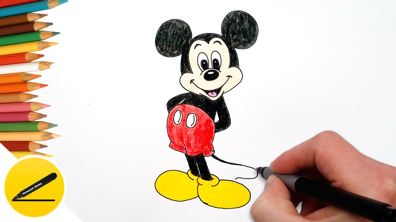 1280x720 How To Draw Mickey Mouse Step By Step, Easy