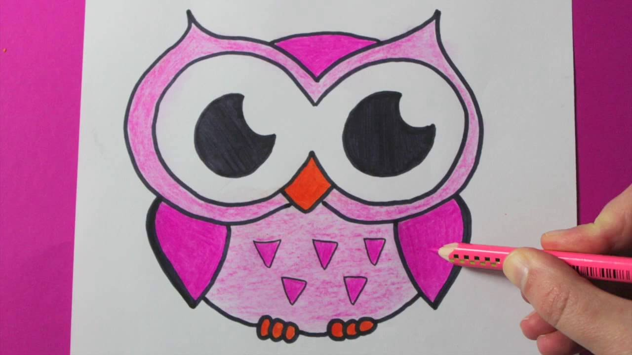 1280x720 Cute Drawings Of Owls How To Draw And Color A Cute Pink Owl Easy