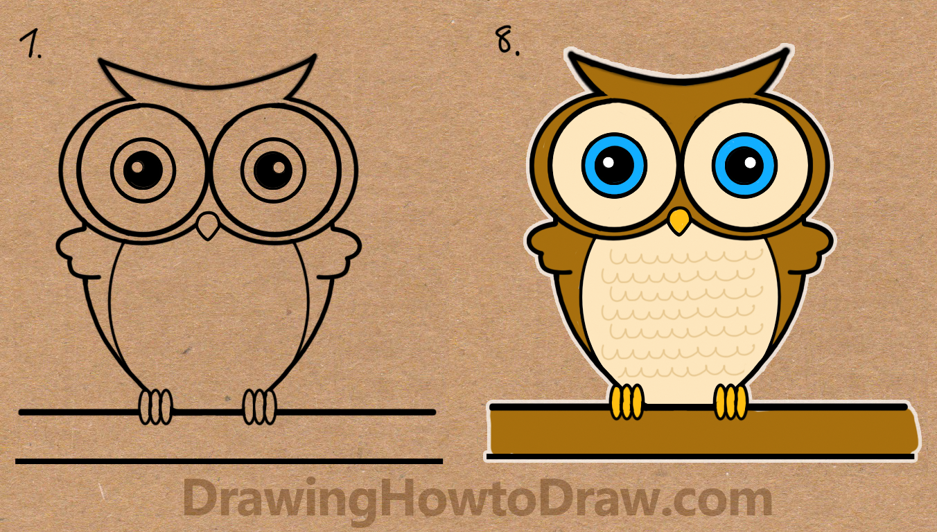 1352x768 How To Draw A Cartoon Owl From Word Owl Drawing Tutorial For Kids