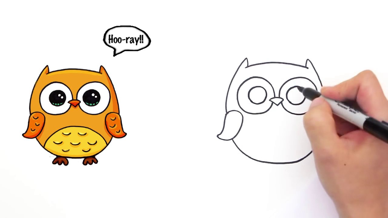 1280x720 How To Draw A Cute Cartoon Owl Easy Step By Step