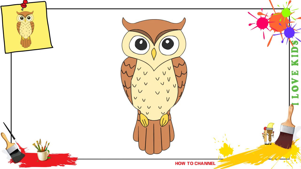 1280x720 How To Draw An Owl 2 Simple, Easy Amp Slowly Step By Step For Kids