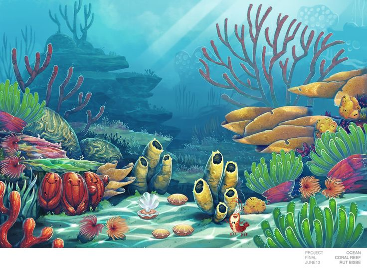 Wonderful 736x537 Coral And Filtered Light, This Under The Sea Scene Was Painted